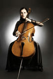 Cello classical musician cellist. Woman with musical instrument Royalty Free Stock Photography
