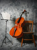 Cello concert. Cello and music stand Stock Images