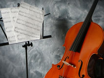 Cello concert. Cello and music stand Royalty Free Stock Images