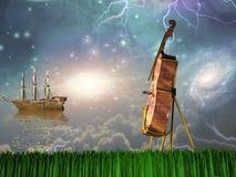 Cello in dream landscape Royalty Free Stock Image