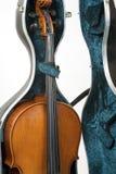Cello in einem Fall stockfotos