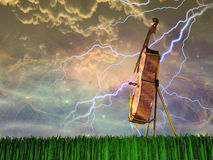 Cello in landscape Stock Images