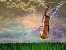 Cello in landschap vector illustratie