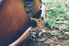 Violoncello lying on the grass Royalty Free Stock Image