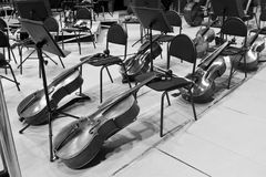 Cello lying on the stage in a symphony orchestra Stock Images