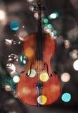 Cello met lichten Stock Afbeelding