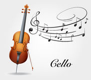 Cello and music notes. Illustration Stock Image