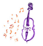 Cello and musical notes Royalty Free Stock Photography