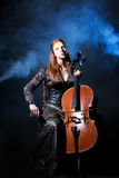 Cello musician, Mystical music Stock Photography