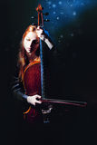 Cello musician, Mystical music Stock Image