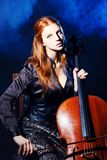 Cello musician, Mystical music Royalty Free Stock Image