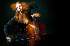 Cello musician, Mystical music Stock Photos