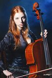 Cello musician, Mystical music Royalty Free Stock Photo