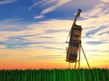 Cello op gras royalty-vrije illustratie