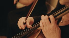 Cello in the orchestra. Close up. A woman plays the cello. Music and entertainment stock video