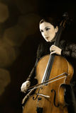 Cello orchestra player Royalty Free Stock Image