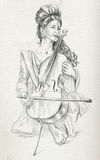 Cello player. Freehand sketch. Full sized, orignal. Royalty Free Stock Image