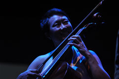 Cello player performs live on the stage Royalty Free Stock Images