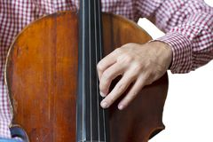 Cello playing cellist hands close up orchestra instruments Isolated image on white background. Close-up stock image