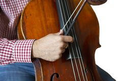 Cello playing cellist hands close up orchestra instruments Isolated image on white background. Close-up royalty free stock image