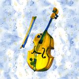 Cello in watercolor style. Vintage hand drawn violoncello illustration on a blue background. Cello in watercolor style. Vintage hand drawn illustration Royalty Free Stock Photography