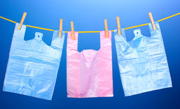 Cellophane bags hanging stock photography