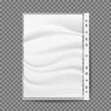 Stationery Bag For Paper Vector. A4 Size. Perforations On One Side For Connection. Blank White A4 Paper Sheet. Isolated. Cellophane Business File Vector. A4 Size vector illustration