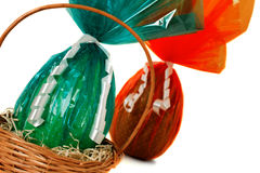 Cellophane Easter eggs in a basket Royalty Free Stock Photo