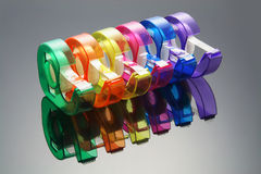 Cellophane Tapes. Row of Cellophane Tapes with Reflections Royalty Free Stock Photo