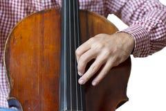Cellospielcellisthände nah herauf lokalisiertes Bild des Orchesters Instrumente auf weißem Hintergrund stockbild