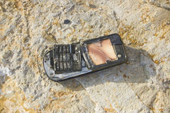 Cellphone. Cell phone on the rock Royalty Free Stock Images