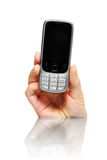 Cellphone. A nice picture of a modern cellphone over white background, a lot of space for text Stock Image
