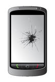 Cellphone. Isolated  cellphone with cracked display Stock Photo