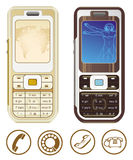Cellphone. Two brown cellphone on the white background Stock Illustration