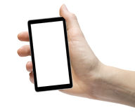 Cellphone. Tablet in hand for advertisement Stock Images
