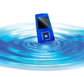 Cellphone. On surface of blue pool Stock Image
