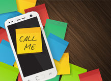 Cellphone And Yellow Reminder Sticker With Text Call Me Stock Photo