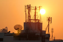 Cell phone antenna. Silhouette view of cell phone antenna under twilight Stock Photo