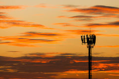 Cellphone antenna. Silhouette view of cellphone antenna under twilight sky royalty free stock images