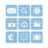 Cellphone Application Icons. Vector icons for time,files,home,diary,messages,settings,search,cam and e-mail.Cyan and blue triangle background Royalty Free Stock Photos