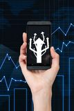 Cellphone with arrows Stock Images