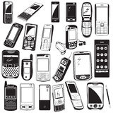 Cellphone black icons Stock Image