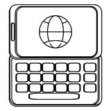 Cellphone with buttons and globe diagram on screen Royalty Free Stock Photo