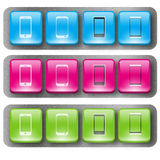 Cellphone buttons 2. Cellphone buttons in three different color Stock Photography