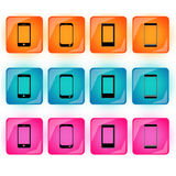 Cellphone buttons. In three different color Royalty Free Stock Photos