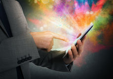 Cellphone colorful multimedia Stock Photo
