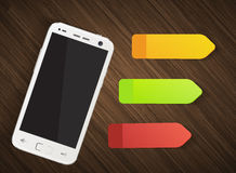 Cellphone with colorful stickers Royalty Free Stock Images