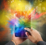 Cellphone colour burst. Cellphone with burst of bright colorful powders Royalty Free Stock Image