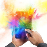 Cellphone colour burst. Cellphone with burst of bright colorful powders Royalty Free Stock Images
