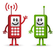 Cellphone conversation. Vector of two mobile phones having positive conversation vector illustration